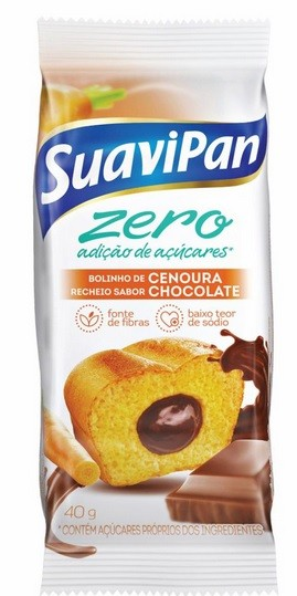 BOLINHO ZERO CENOURA COM CHOCOLATE SUAVIPAN 40G 12 UNIDADES