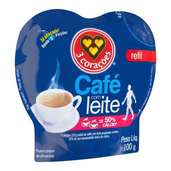 CAFÉ COM LEITE 3 CORAÇÕES REFIL 100G
