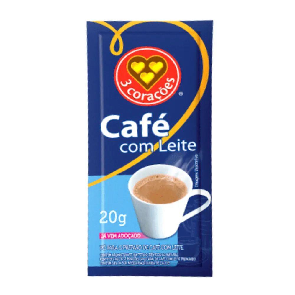 CAFÉ COM LEITE 3 CORAÇÕES SACHÊ 20G 50 UNIDADES