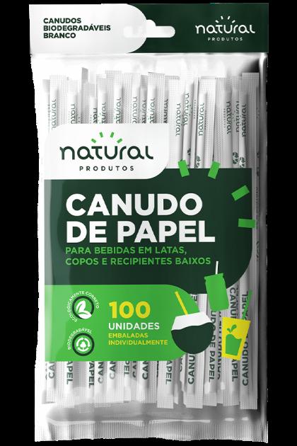 CANUDO DE PAPEL BRANCO BIO EMBALADO PACOTE 100 UNIDADES