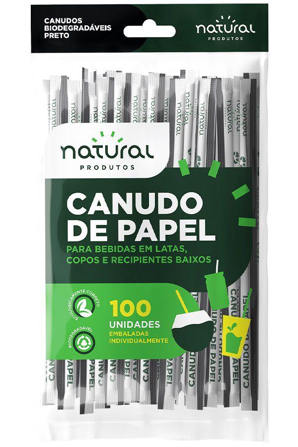 CANUDO DE PAPEL PRETO BIO EMBALADO NATURAL PACOTE 100 UNIDADES