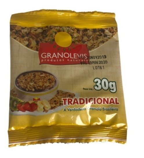 CEREAL GRANOLA TRADICIONAL GRANOLEVIS 30G CAIXA 50 UNIDADES