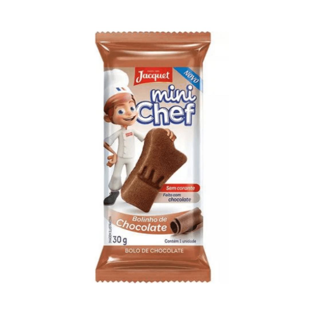 MINI BOLO CHOCOLATE JACQUET 30G CAIXA 5 UNIDADES