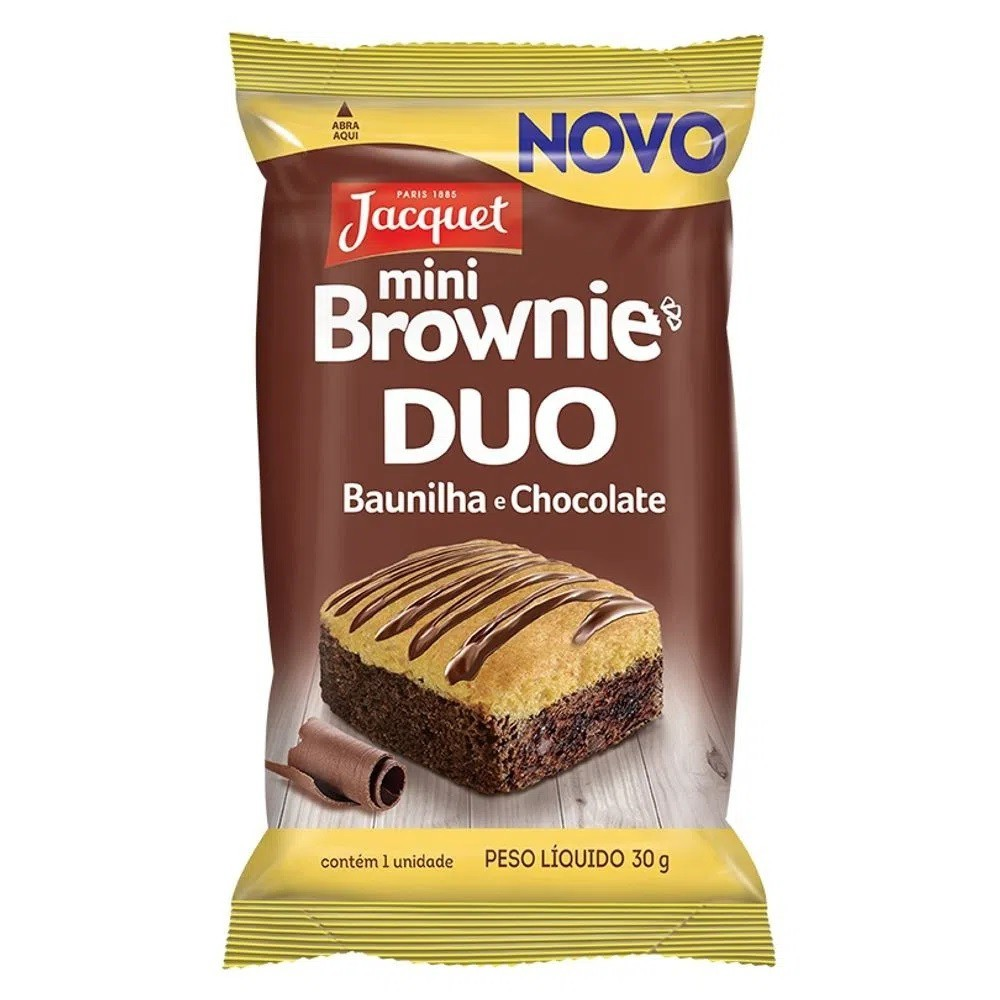 MINI BROWNIE DUO BAUNILHA COM CHOCOLATE JACQUET 30G CAIXA 5 UNIDADES