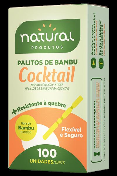 PALITO COCKTAIL BAMBU NATURAL CAIXA 100 UNIDADES