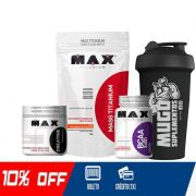 KIT MONSTRUOSO - MASSA MAX 3KG + CREATINA + BCAA 100 CAPS + COQUETELEIRA