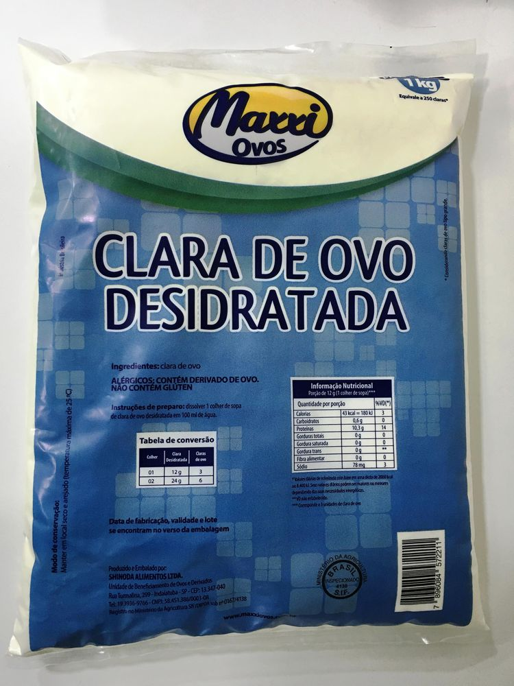 CLARA DE OVO PASTEURIZADA DES. PCT 1KG - MAXXI OVOS