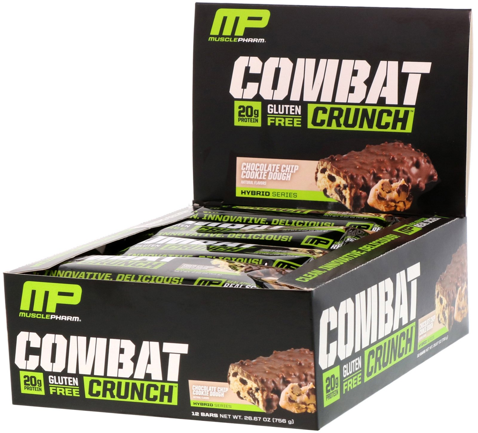 COMBAT CRUNCH MUSCLE PHARM COOKIES AND CREAM 45G CAIXA C/ 12 UNIDADES