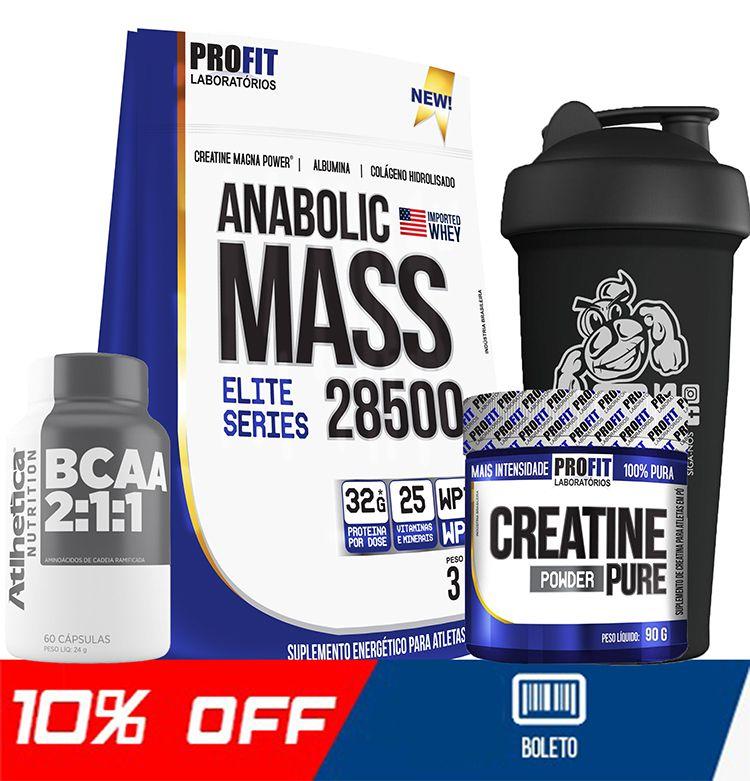 COMBO ANABOLIC MASS + BCAA + CREATINA + COQUETELEIRA