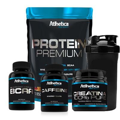 COMBO ATLHETICA + PROTEIN PREMIUM + BCAA 60 CAPS + CREATINA PRO SERIES + CAFFEINE + COQUETELEIRA