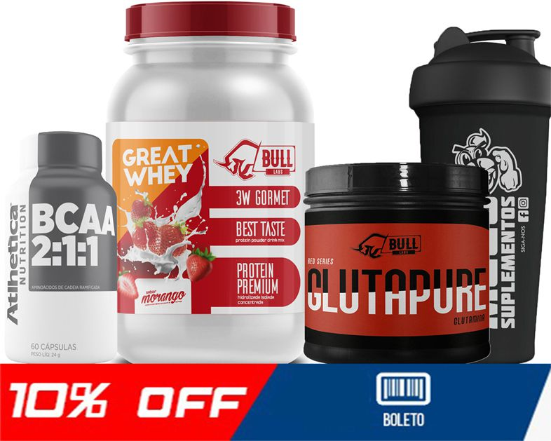 COMBO GREAT WHEY + BCAA + GLUTAPURE + COQUETELEIRA