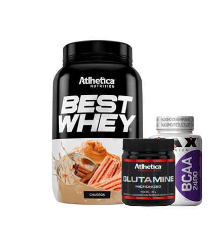 KIT HIPETROFIA MAXIMA - BEST WHEY + BCAA 100 CAPS + GLUTAMINA 150G
