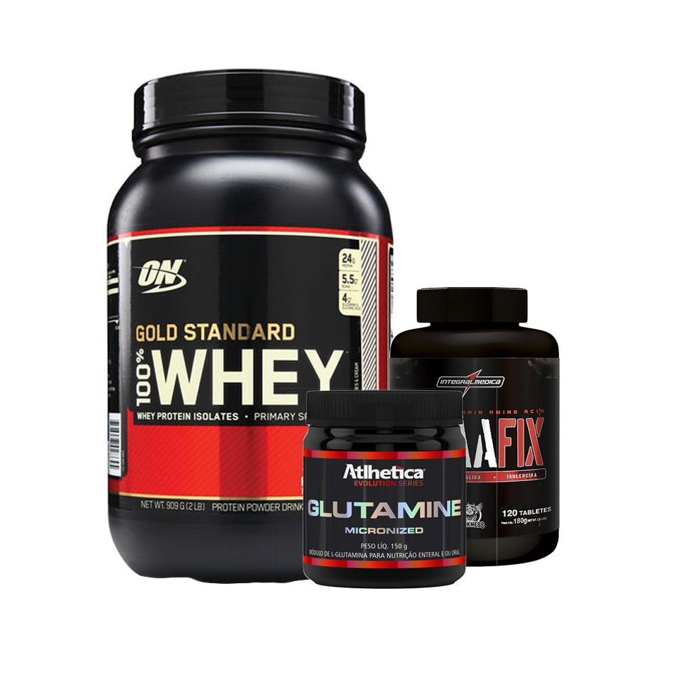 ff50e9596 KIT MASSA MAGRA - WHEY GOLD STANDARD + BCAA FIX 120 TABS + GLUTAMINA 150G