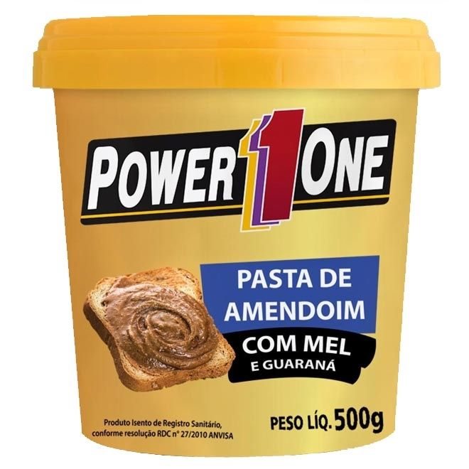PASTA DE AMENDOIM MEL E GUARANA 500g - POWER ONE