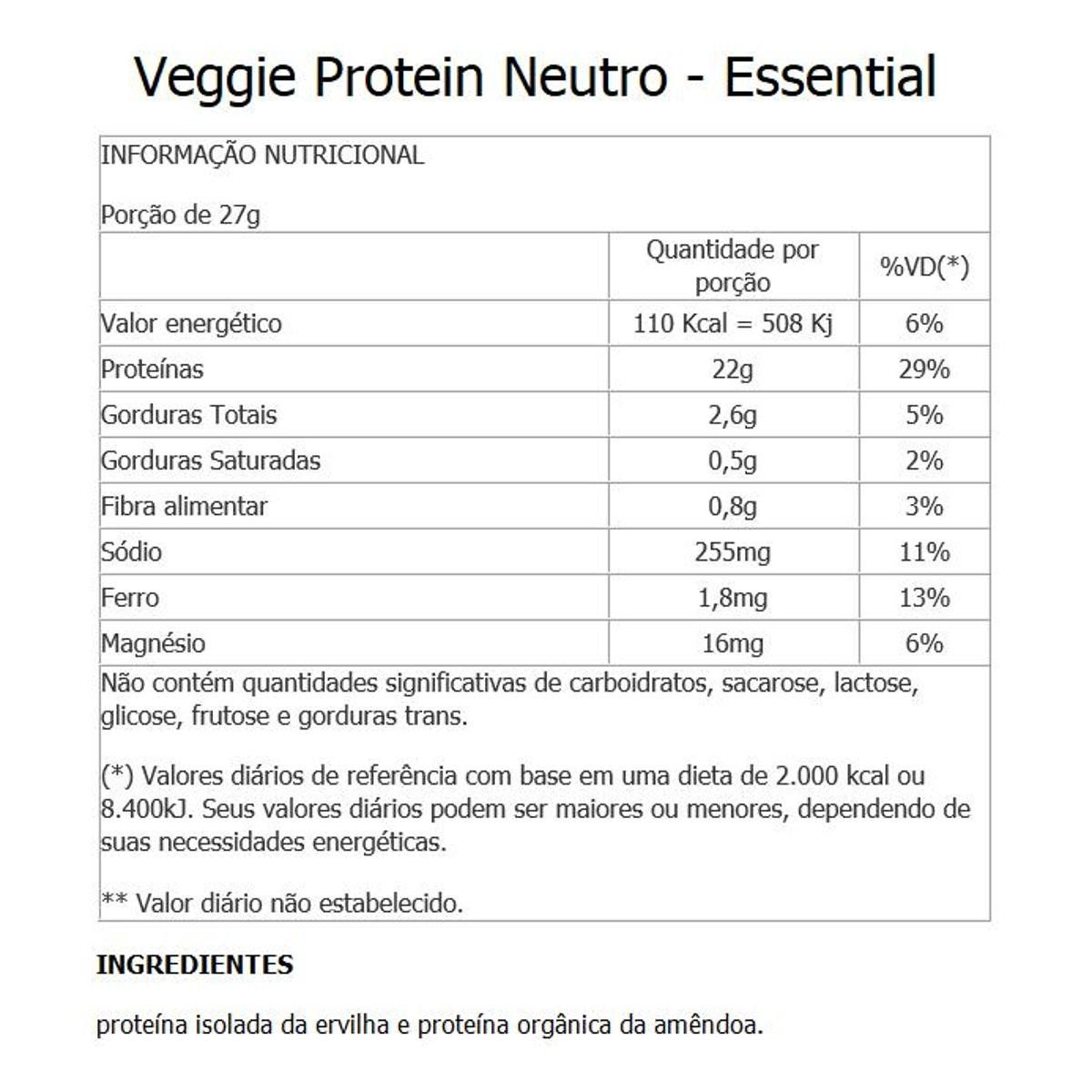 VEGGIE PROTEIN NEUTRO 405GR - ESSENTIAL NUTRITION