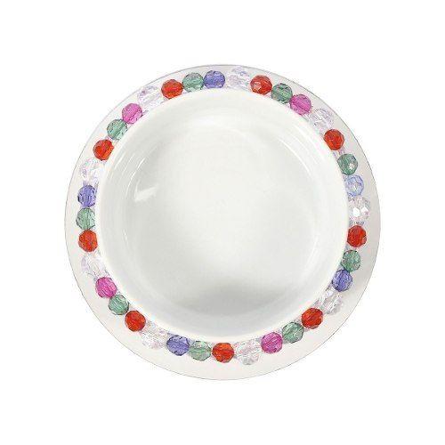 Comedouro ou bebedouro em porcelana com um colar de contas tipo cristal cores diversas .LUXO!