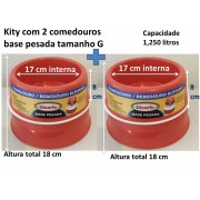 kIT 2 comedouros elevados base pesada tamanho G
