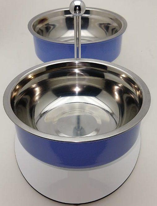 Comedouro/bebedouro cães e gatos, duplo, inox, destacável, suporte alumínio azul regulador de altura.Totalmente lavável,resistente à maresia,não enferruja,não contém aço carbono nem madeira
