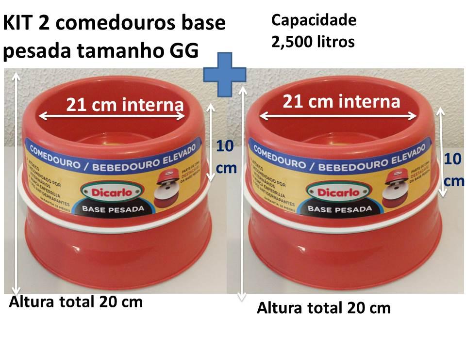 kIT 2 comedouros elevados base pesada tamanho GG