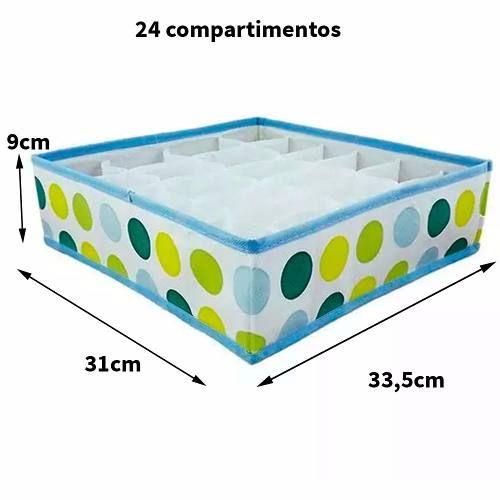 Organizador Calcinha Gaveta Closet Branco Bolinhas 24 Nichos