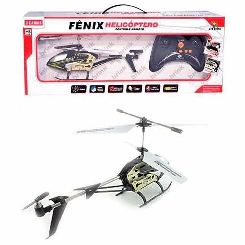 Mini Helicoptero Controle Remoto Fênix 3 Canais Com Gyro
