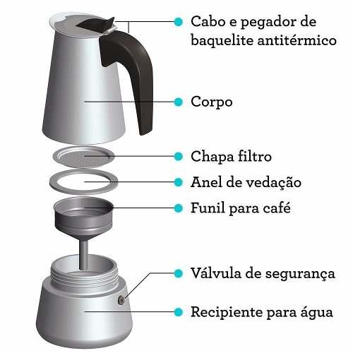 Cafeteira Italiana De Aço Inox 6 Xícaras De Café Expresso