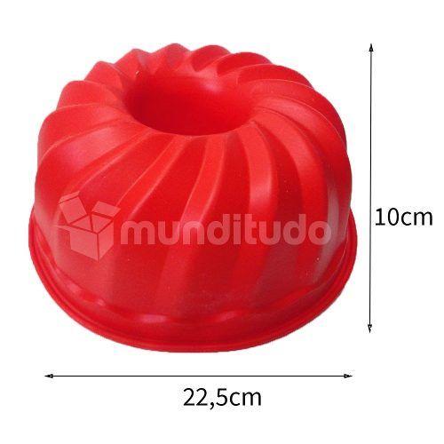 Forma Silicone De Pudim Com Furo Vermelha Oferta Barato