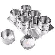 Porta Condimentos E Temperos Magnético Em Aço Inox 24 Potes