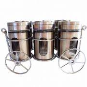 Porta Temperos E Condimentos Suporte Carruagem 6 Potes Vidro