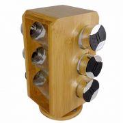 Porta Condimentos E Temperos 6 Potes Suporte Giratório Bambu