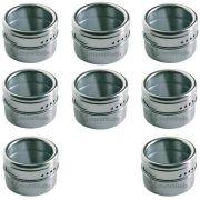 Porta Condimentos E Temperos Magnéticos De Aço Inox 8 Potes