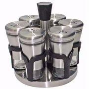 Porta Temperos Condimentos Giratório 6 Potes Vidro Aço Inox