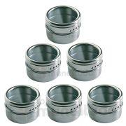 Porta Temperos E Condimentos Em Aço Inox Com Imã 6 Potes