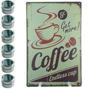Porta Temperos 6 Potes Inox Magnético Quadro Cozinha 101606