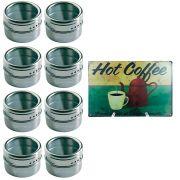 Porta Temperos 8 Potes Inox Magnético Quadro Cozinha 101708