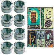 Porta Temperos 8 Potes Inox Magnético Quadro Cozinha 102008