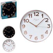 Relógio de Parede Dourado Clássico Com Fundo Branco ou Preto 30cm