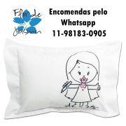Travesseiro Personalizado Menina Lápis P 20 cm x 30 cm