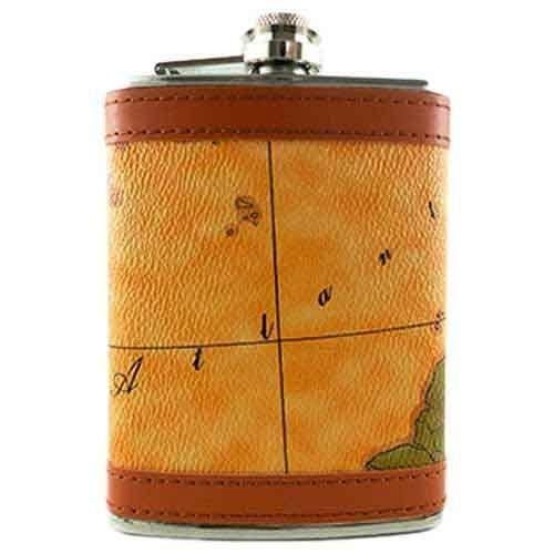 Cantil Porta Whisky Em Inox E Couro Atlântico 8 0z 240 Ml