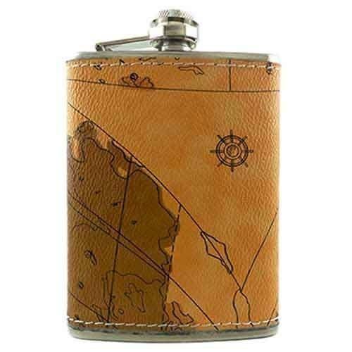 Cantil Porta Whisky Inox Acabamento Couro 240 Ml Mapa Antigo