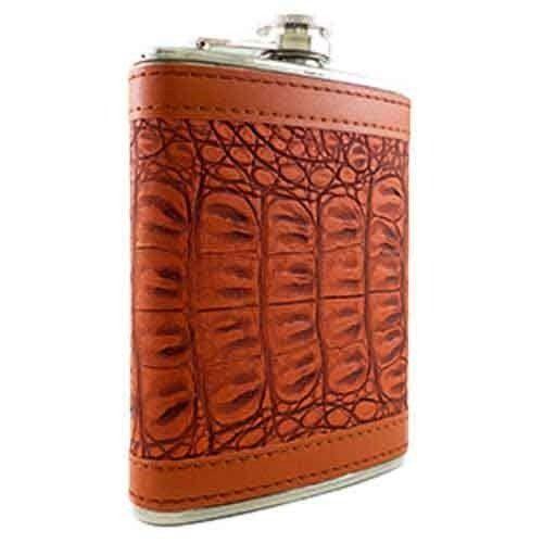 Porta Whisky Em Inox Revestido Em Couro Marrom Luxo 240 Ml