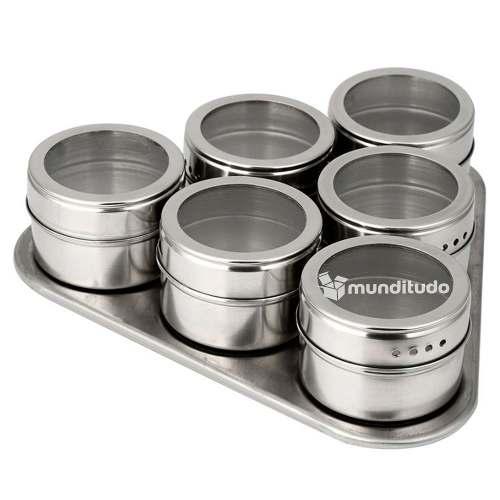 Porta Temperos E Condimentos Aço Inox Magnéticos 18 Potes
