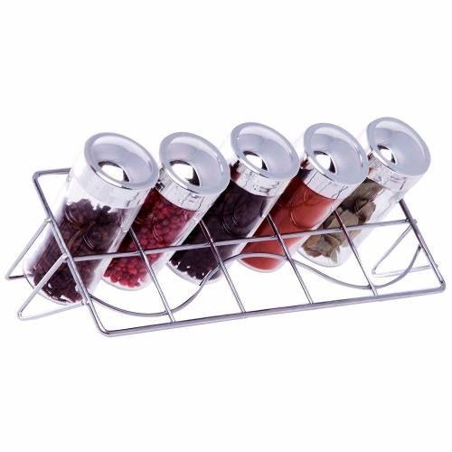 Porta Condimentos E Temperos 5 Potes Vidro Suporte Inclinado