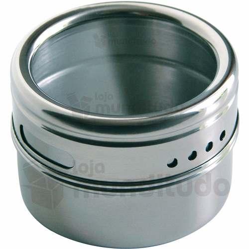 Porta Temperos E Condimentos Magnético Aço Inox 18 Potes