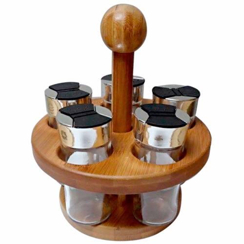 Porta Condimentos E Temperos 5 Potes Suporte Redondo Bambu