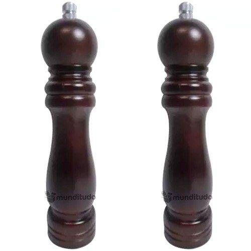 Moedor Pimenta Sal Moinho Cerâmica Madeira Escura 25cm 2 Pcs