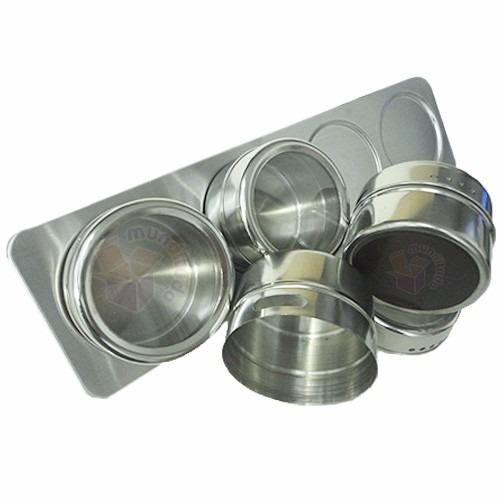 Porta Condimentos Em Inox 32 Potes Magnéticos Com Suporte