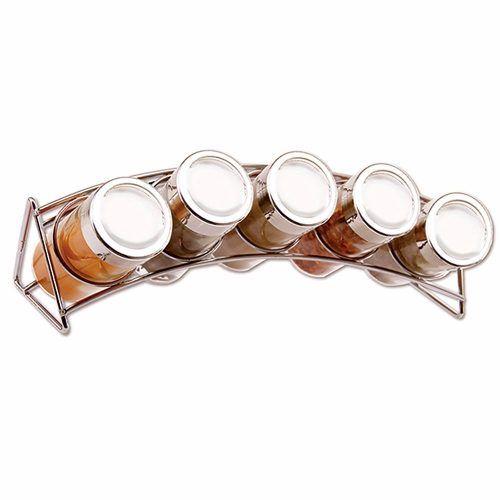 Porta Temperos E Condimentos Suporte Curvado 5 Potes Vidro