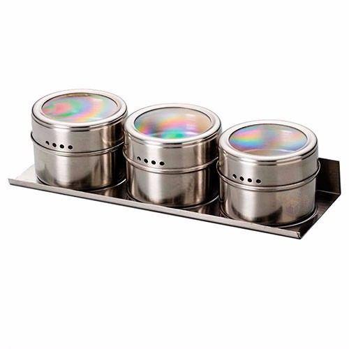 Porta Temperos E Condimentos 3 Potes Com Imã De Aço Inox S3