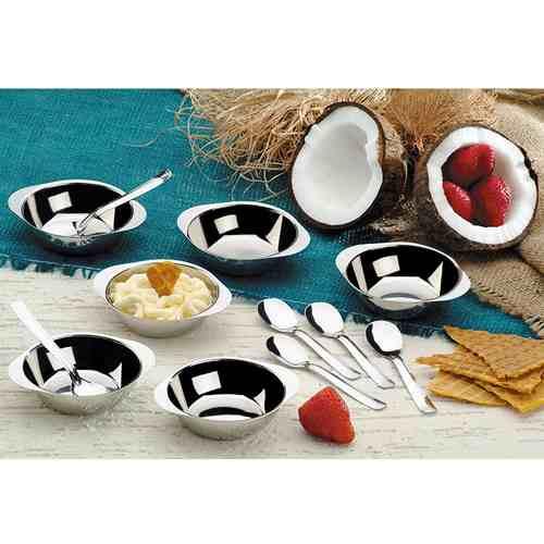 Conjunto Sobremesa Potes E Colheres Inox 12 Pcs 7012 Oferta